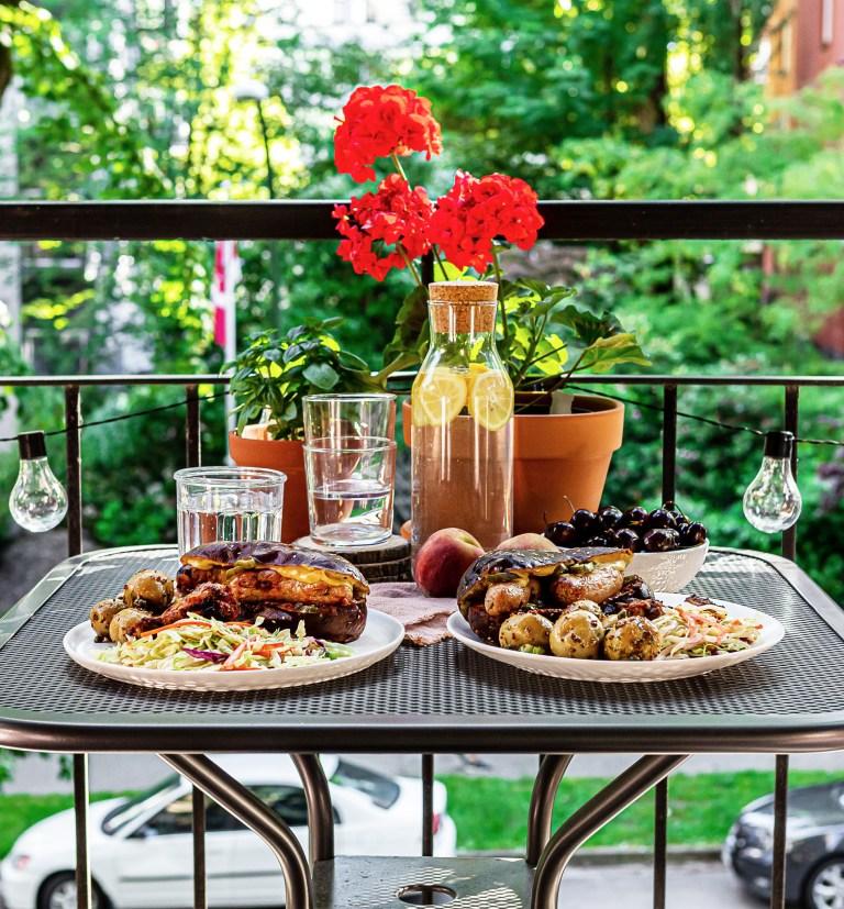 BBQ dinner on a patio table